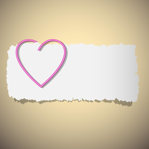 심장 모양의 종이 클립. 프리미엄 벡터