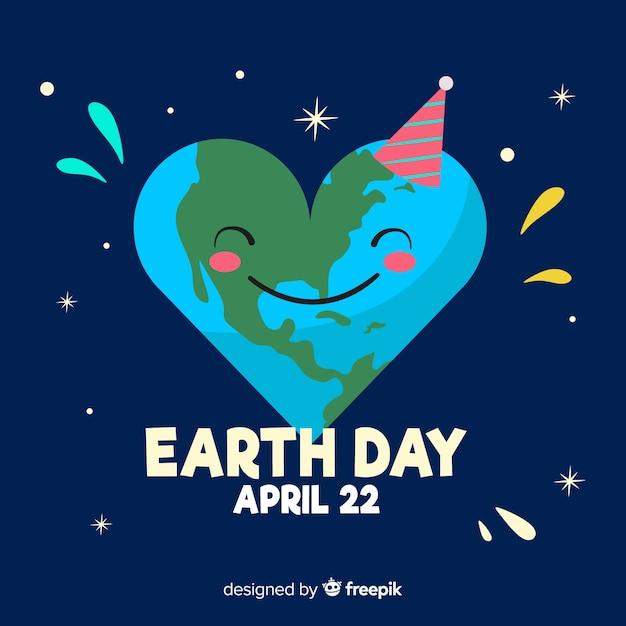 Priorità bassa di giorno di terra di madre pianeta pianeta a forma di cuore Vettore gratuito