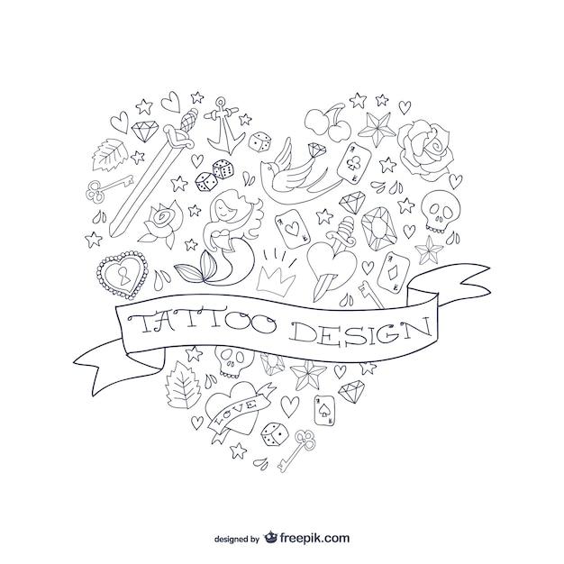 Heart shaped tattoo Free Vector