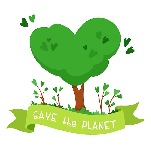 Heart shaped tree. green ribbon with the words save the planet. the concept of environmental protection, ecology Free Vector