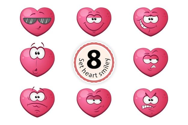 Сердце смайлик удовлетворение, уверенность в себе, сюрприз, усмешка, о, подозрение, очки, гнев. Premium векторы