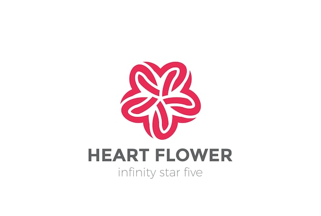 Логотип сердца звезды цветок, изолированные на белом Бесплатные векторы
