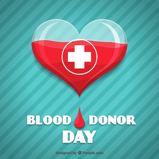 Heart striped background for blood donor day Premium Vector