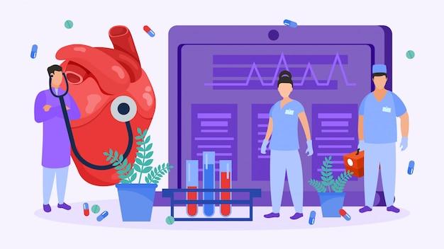 Премиум векторы | Хирургия сердца, люди кардиологов проверяют сердце для  иллюстрации медицинской операции.
