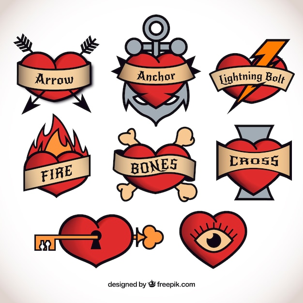 Heart tattoo collection Free Vector