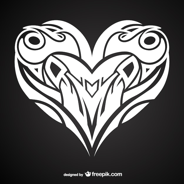 Tattoo Designs Vector Free Download: Heart Tattoo Design Vector