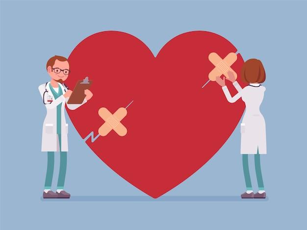 Heart treatment by doctors Premium Vector