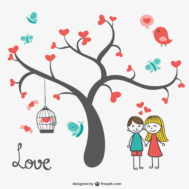 Heart Tree Pattern Free Vector