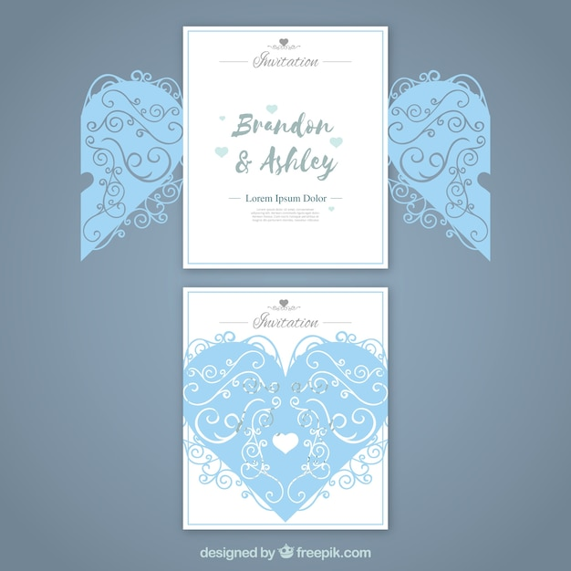 heart wedding card with laser cut vector free download