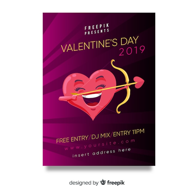 Heart with arch valentine's day party poster Free Vector