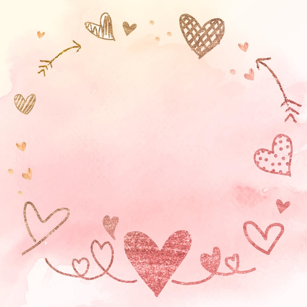 Heart with arrow frame watercolor illustration Free Vector