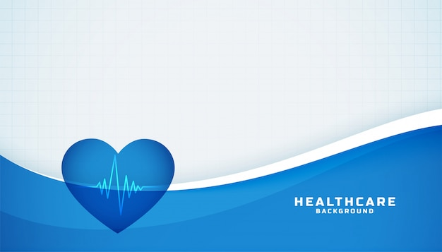 Heart with cardiograph line medical blue background Free Vector