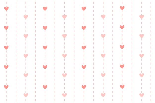 Heart with dash line background. Premium Vector