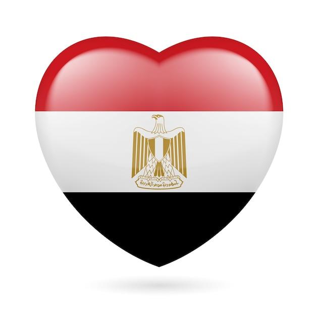エジプトの国旗の色のハート私はエジプトが大好きです Premiumベクター