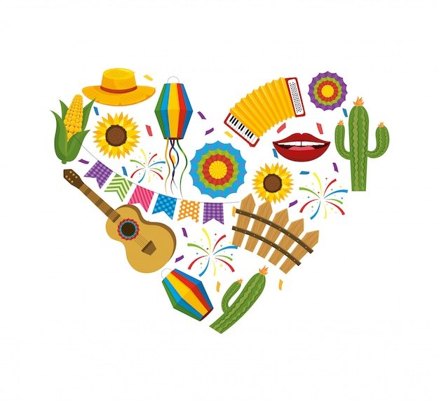 Heart with festa junina decoration to party Premium Vector