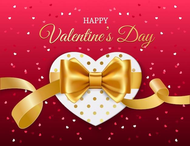 Сердце с золотой лентой и бантом. день святого валентина Premium векторы