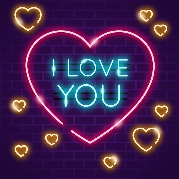 Heart with i love you message Free Vector