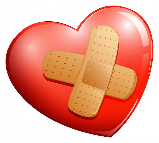 Heart with a plaster Free Vector