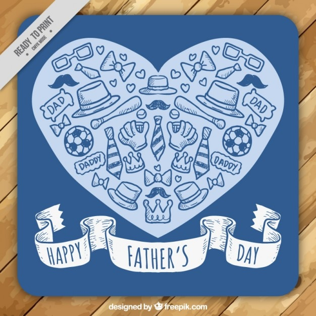 Heart with sketches elements father\'s day\ card