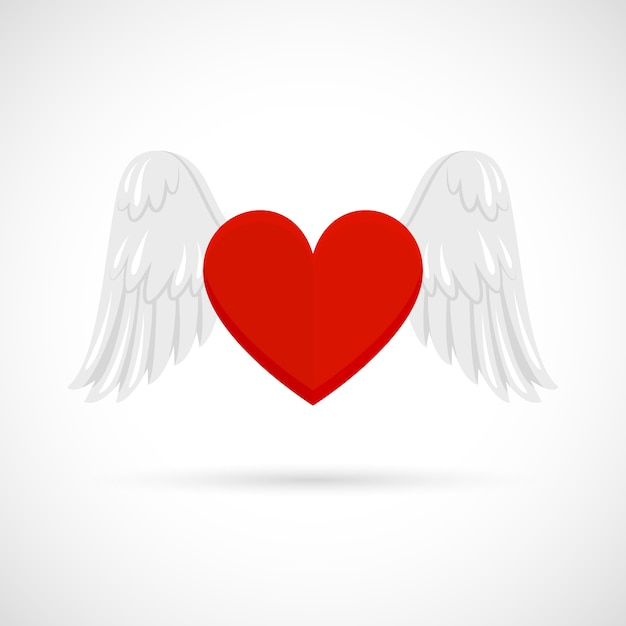 Heart with wings Free Vector