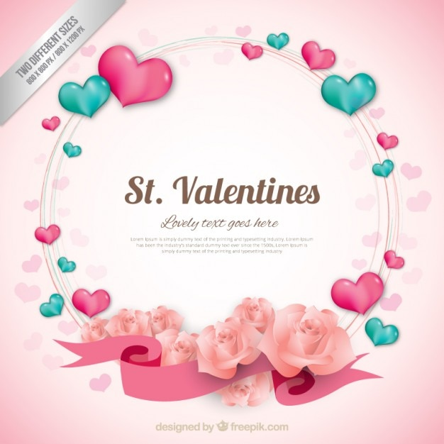 Heart wreath valentine background Free Vector