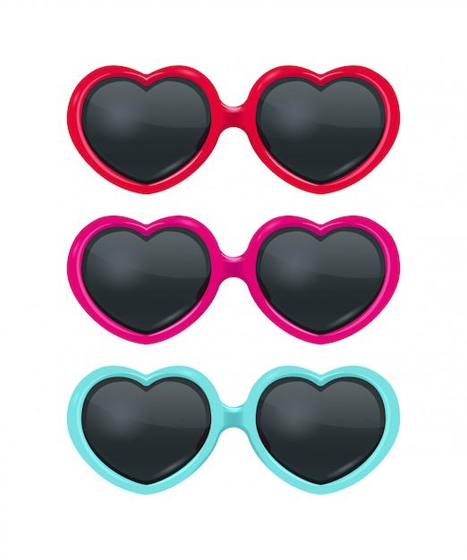 Коллекция реалистичных солнцезащитных очков heart Premium векторы