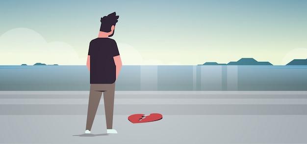 Heartbroken sad man in depression Premium Vector