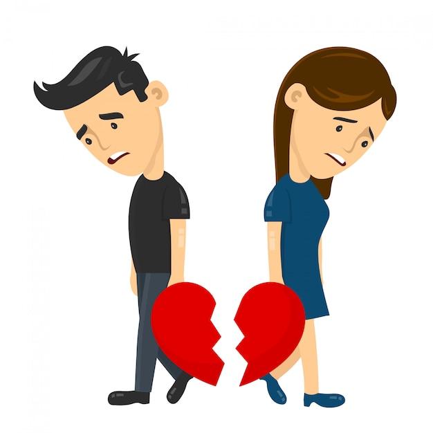 Heartbroken Sad Young Man Guy And Woman Girl Couple Parting Divorce Premium Vector