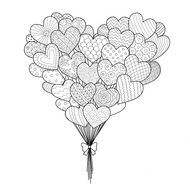 Hearted balloons Premium Vector