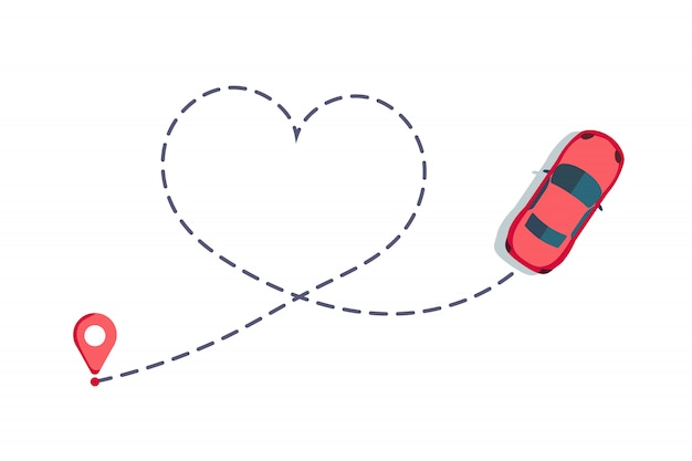 Люблю автомобильный маршрут. hearted путь автомобиля, пунктирная любовь день святого валентина рисунок изолированные Premium векторы