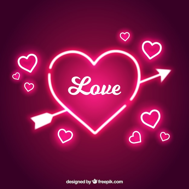 Hearts And Arrow Of Neon Lights Background Vector Free