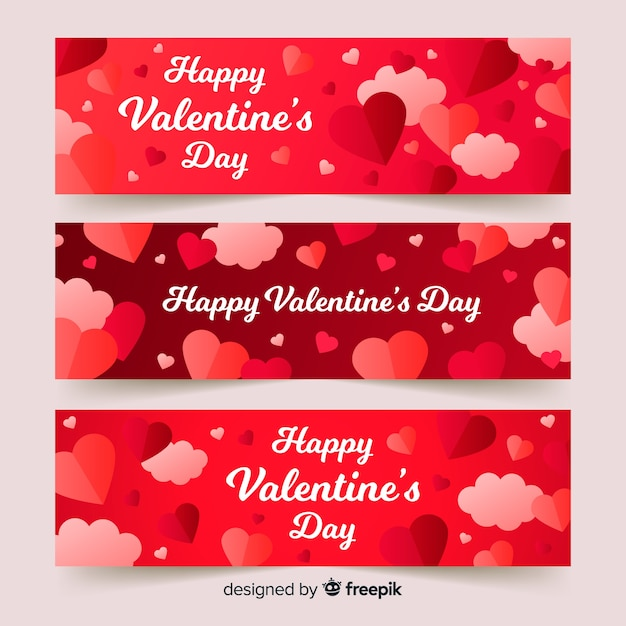 Hearts And Clouds Valentine S Day Banner Vector Free Download