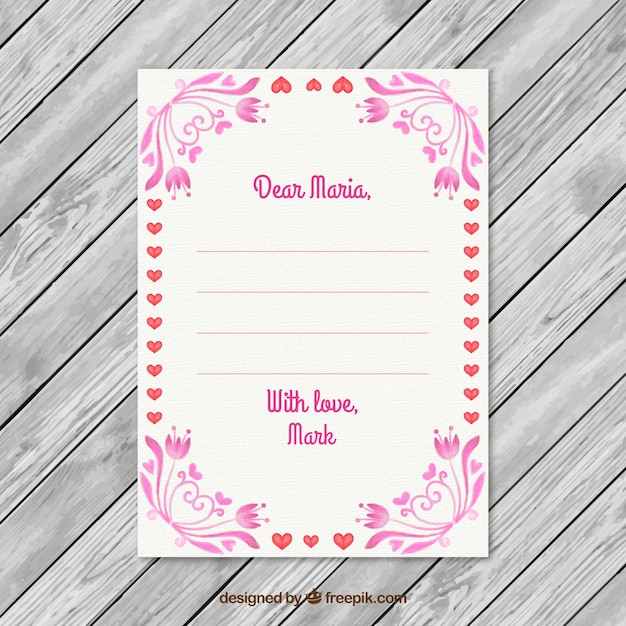 Hearts and floral frame valentine day letter vector free download hearts and floral frame valentine day letter free vector stopboris Images