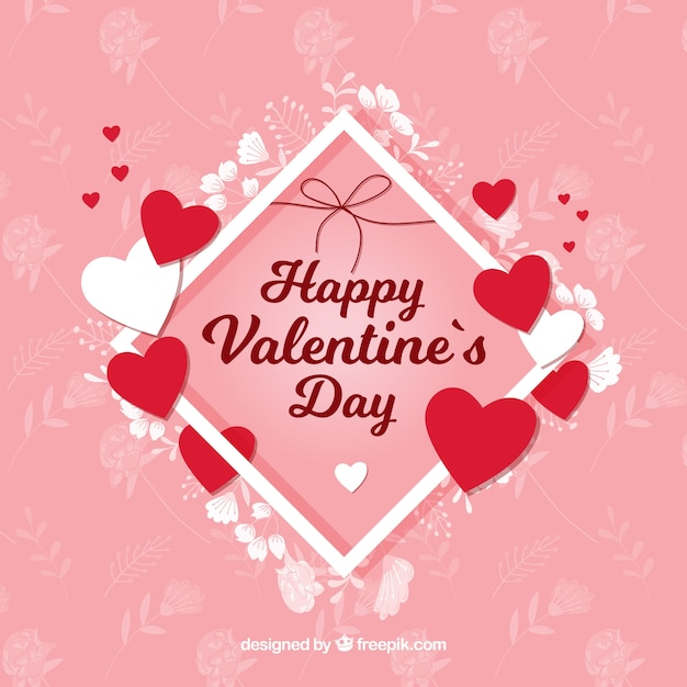 Hearts And Flowers Valentine Background Vector Free Download