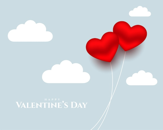 Hearts balloons and clouds for valentines day Free Vector