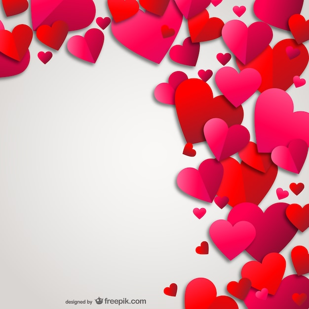 Love Wallpaper Vector : Hearts card Vector Free Download