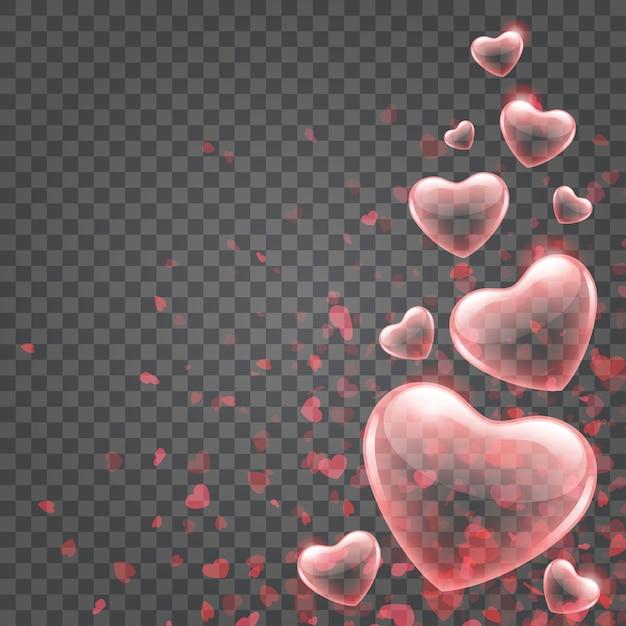 Огни боке конфетти сердца, изолированные на прозрачном фоне Premium векторы