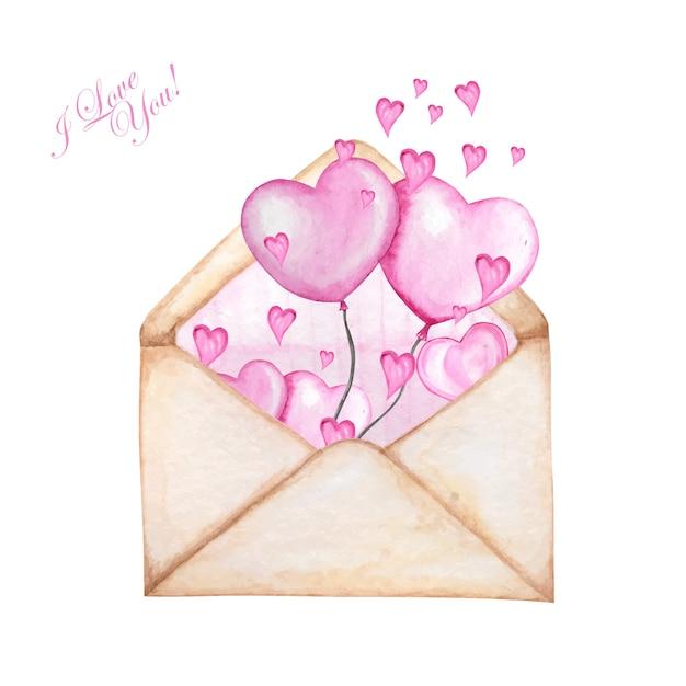 Hearts flying awayを使用したバレンタインデー用の郵便封筒ストライプ。 Premiumベクター