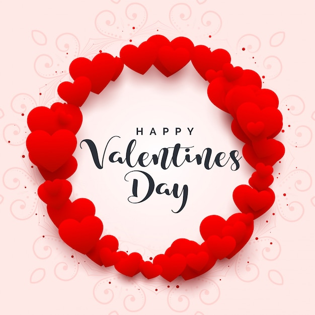 Hearts frame for happy valentines day Free Vector