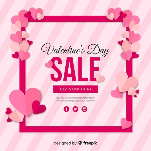 Hearts frame valentine sale background Free Vector
