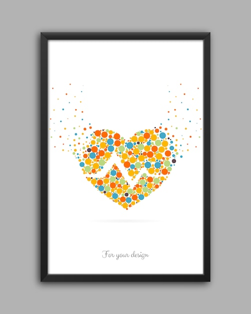 Hearts framed on the wall. Premium Vector