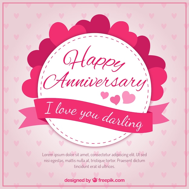 Hearts Happy Anniversary Badge Vector Free Download