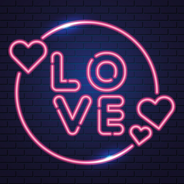 Hearts and love, neon Free Vector