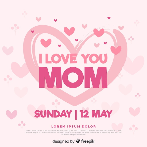 Hearts mother's day background Free Vector
