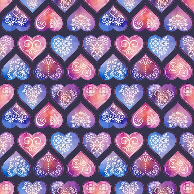 Hearts pattern with hand draw ornaments Free Vector