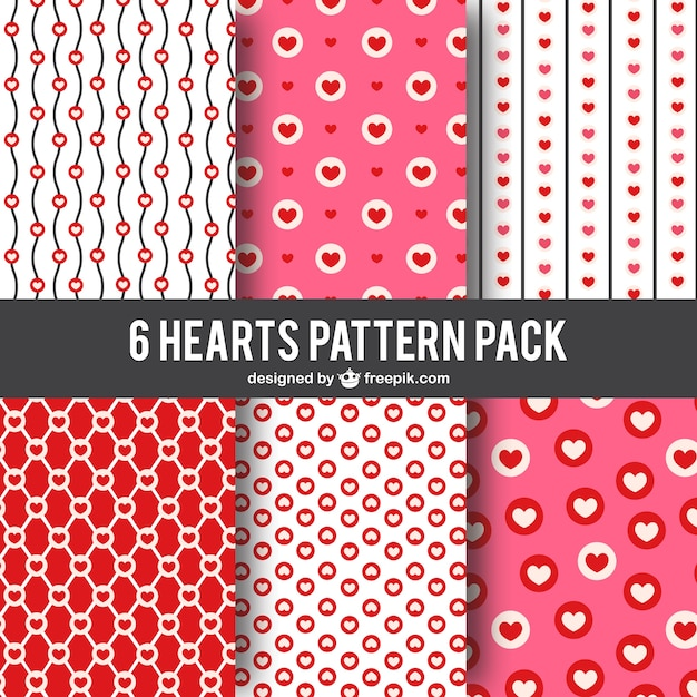 Hearts patterns pack Premium Vector