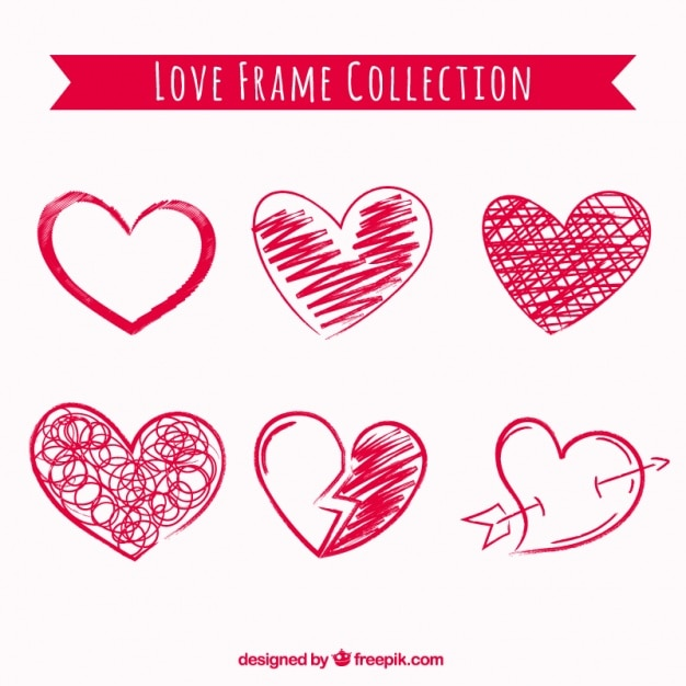 Hearts scribble pack Premium Vector