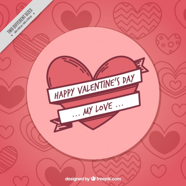 Hearts sketches background of happy valentine Vector | Free Download