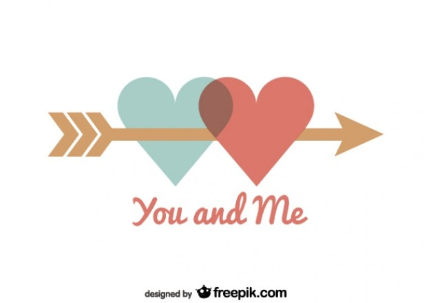 Hearts United By Arrow Valentineu0027s Day Card Free Vector
