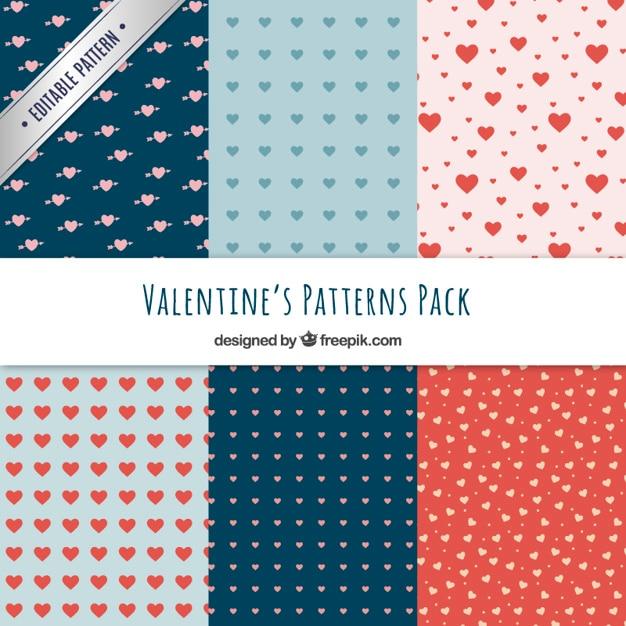 Hearts valentine patterns pack Premium Vector